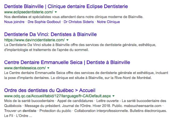 Exemple de SERP organic Google de dentistes